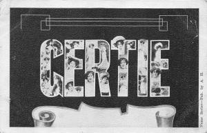 Gertie Postcard~Pretty Lady-Girl Faces in Large Letters~c1905 B&W Postcard