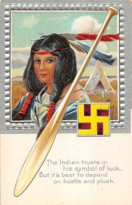 Native American Indian feather headdress teepee swastika antique pc ZE686156
