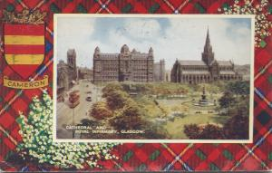 Cathedral and Royal Infirmary, Glasgow, Scotland, postcard used in 1956
