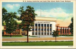Vtg WK Kellogg Auditorium and Junior High School Battle Creek MI Postcard