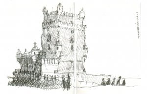 Belem Tower Lisboa Portugal Stunning Sketch Painting Postcard