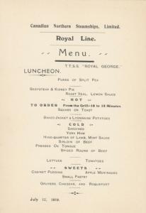 Royal Line Ocean Liner T.T.S.S. ROYAL GEORGE 1910 ; LUNCHEON Menu
