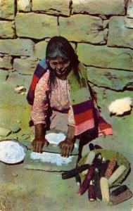 Hopi Grandmother Grinding Corn Meal Native Americana Vintage Postcard ca 1960s