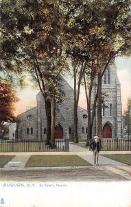 Auburn New York~Fenced In St Peter's Church~Man On Sidewalk~1906 Postcard~TUCK
