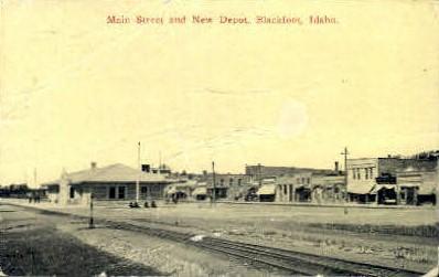Main Street and New Depot Blackfoot ID 1914