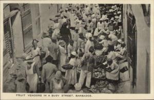 Barbados Fruit Vendors Street Scene c1915 Postcard