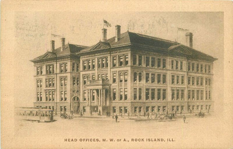 1908 Head Offices MWA Rock Island Illinois Trolley roadside Postcard 20-5019