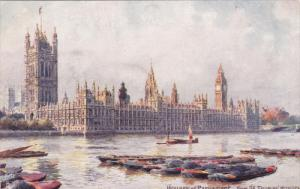 TUCK #7898, Houses Of Parliament From St. Thomas' Hospital, LONDON, England, ...