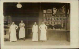 Butcher Shop Model Market San Francisco CA Cancel 1909 Real Photo Postcard
