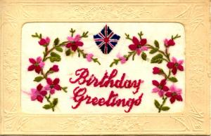 Embroidered Silk - Birthday Greetings
