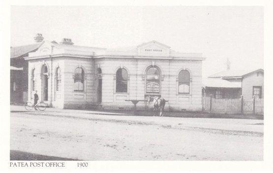 Patea Post Office Taranaki in 1900 Bicycle Outside New Zealand Postcard