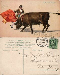 PUERTO RICO PASE DE MULETA ANTIQUE POSTCARD CORK CANCEL BULL FIGHTING