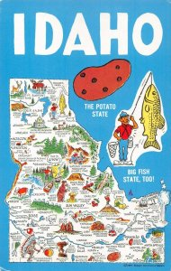 LPM68 Idaho Map Chrome Postcard The Potato State