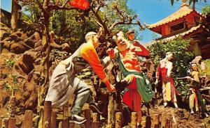 Hong Kong China Tiger Balm Garden Two Boxers Statues Postcard JD933955