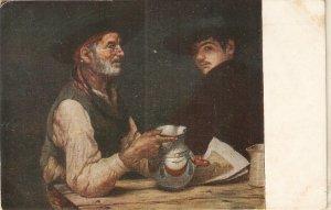 Adelardo Cavarsi. Drinkers. Bebedores Fine painting nice Spanish PC 1920s