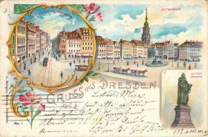 Gruss aus Dresden Altmarkt Blick in d Konig Johann Str 1901 Undiv. Back Postcard