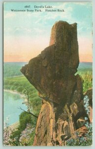 Wisconsin State Park~Sauk County~Devil's Lake~Hatchet Rock~c1910 Postcard