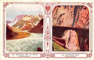 Switzerland Old Vintage Antique Post Card Mer de Glace, St Gotthard's Pa...