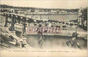 Postcard Old Bayonne (B Pyr) the Holy Spirit Bridge Reduit Square and the Adour