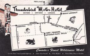 Thunderbird Motor Hotel, Map, DRYDEN, Ontario, Canada, 40-60´s
