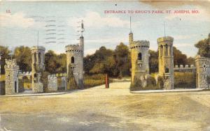 St Joseph Missouri~Krug's Park Entrance~Romanesque Architecture~1910 Postcard