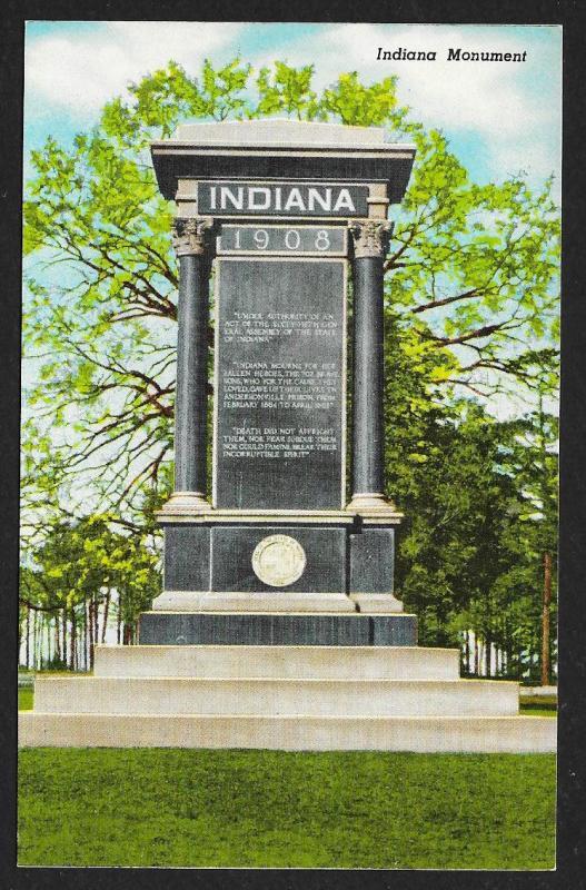 Indiana Monument Americus Georgia Unused c1955