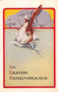 Easter Rabbit Pokes Thru Paper~Lavender Bunney~Art Deco~1914 Pink of Perfection