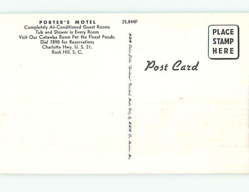 Unused Pre-1980 PORTERS MOTEL Rock Hill South Carolina SC n8671