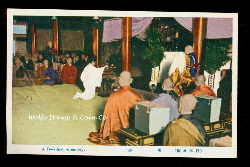 Early Japan Postcard Buddhist Ceremony  A9375