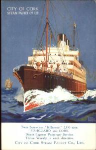 Steamship Poster Art SS Killarney Fishguard City of Cork Steam Packet Co PC