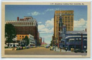 Broadway Street Scene Greyhound Bus Depot Louisville Kentucky linen postcard