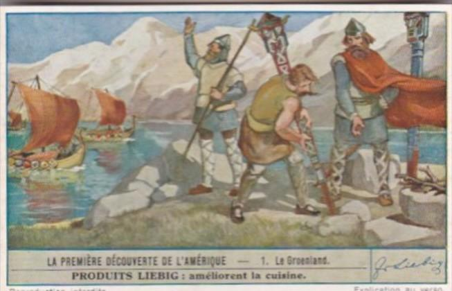 LIebig Trade Card S1483 First Discovery Of America No 1 Le Groenland