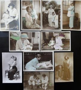Actress GLADYS COPPER inc DAUGHTER & HUSBAND Collection of 10 Old RP Postcards