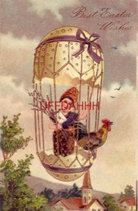 embossed BEST EASTER WISHES young girl with rooster in hot air balloon 1908