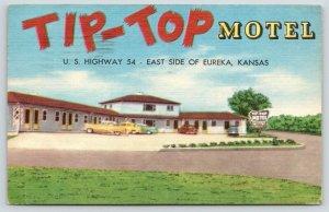 Eureka Kansas~Tip-Top Motel~Roadside US Highway 54~1958 Linen Postcard