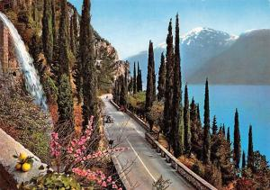 Italy La Gardesana, Route Voiture Vintage Car Road Lake Waterfall