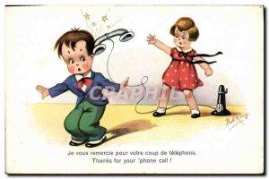 Old Postcard Fantasy Illustrator Child Thank you for your shot phone