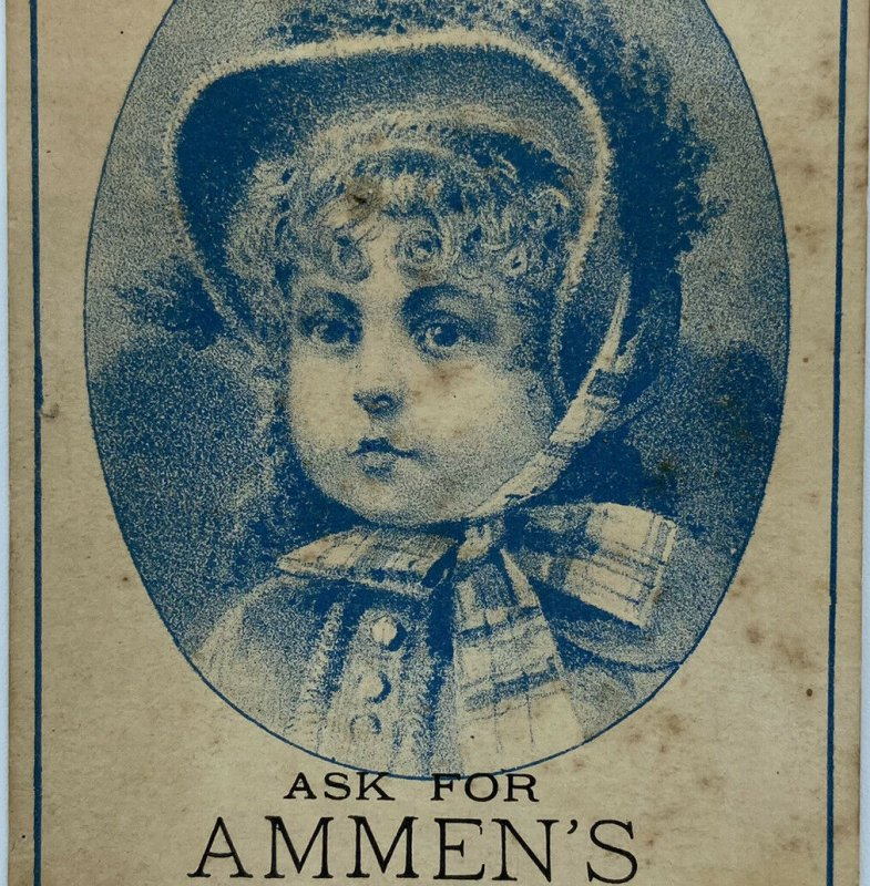 Ammen's Cough Syrup Victorian Girl In Bonnet Medicine Trade Card