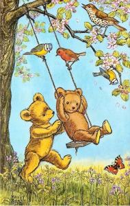 Molly Brett~Fantasy~A Swing for Teddy~One Stuffed Bear Pushes Other~Tree Swing