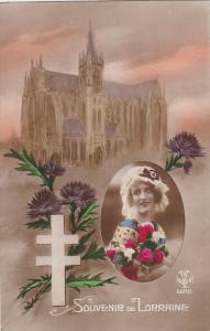 Aouvenir de LORRAINE, Church, Double Cross, Purple Flowers, Portrait of woman...