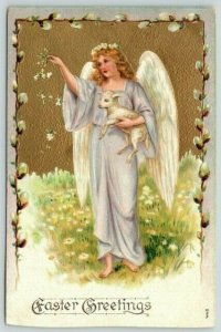 Easter~Angel Lady Drops Flower Petals~Holds Little Lamb~Pussy Willow Border~1909
