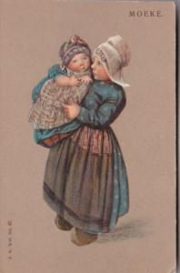 Netherlands Moerke Young Girl With Baby In Traditional Dress
