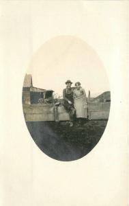 C-1910 Rural life Love on the farm couple frame like RPPC real photo 1278