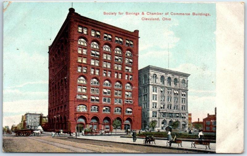 Cleveland, Ohio Postcard Society for Savings & Chamber Commerce Bldgs c1910s