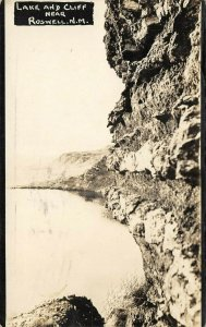 LP12 Roswell  New Mexico Postcard RPPC Lake and Cliff