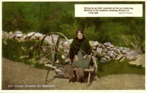 ireland, Old Woman Spinning by Roadside, Costumes (1950s)