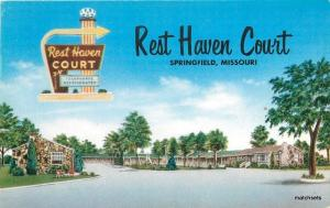 1950s Route 66 Rest Haven Court Springfield Missouri roadside MWM postcard 7156