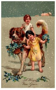Dogs ,   girls riding in snow, Happy New year