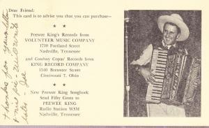 Pee Wee King - Promotional Postal Card