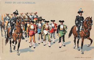 Paseo de las Cuardrillas Bull Fighing, Bullfighting Postcard Unused